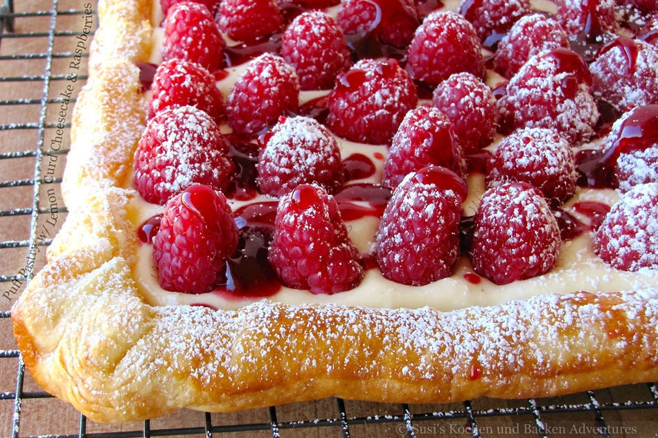Puff Pastry with Lemon Curd Cheesecake and Raspberries