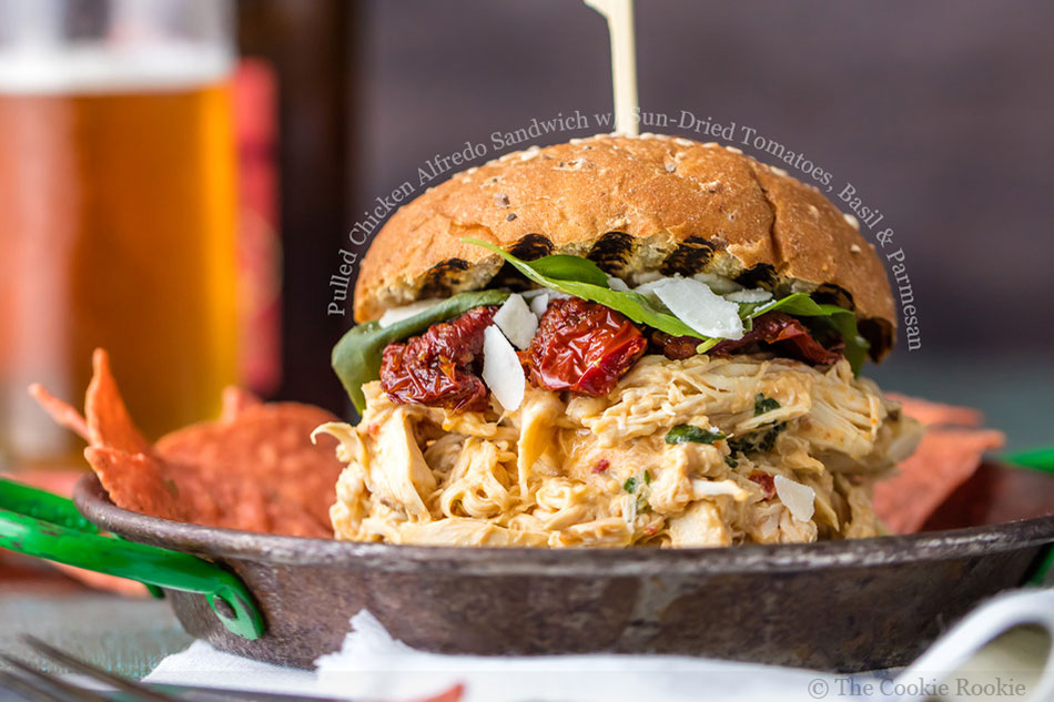 Pulled Chicken Alfredo Sandwich with Sun-Dried Tomatoes, Basil and Parmesan