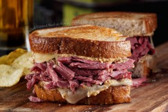 Pulled Corned Beef on Rye with Swiss Cheese and Whole Grain Mustard