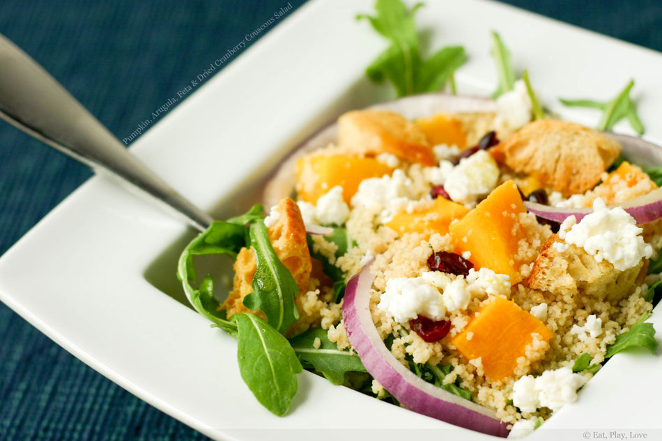 Pumpkin, Arugula, Feta and Dried Cranberry Couscous Salad
