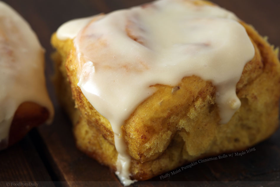 Fluffy Moist Pumpkin Cinnamon Rolls with Maple Icing