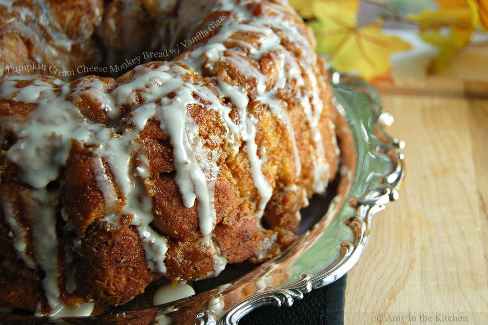 Pumpkin Cream Cheese Monkey Bread with Vanilla Glaze