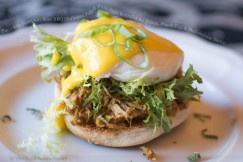 Pumpkin-Pumpkin Beer BBQ Slathered Pulled Pork Eggs Benedict with Frisee, Poach Egg and Hollandaise Sauce