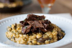 Pumpkin-Pumpkin Beer Risotto with Coffee and Chocolate Stout Glazed Short Ribs