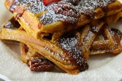 Pumpkin Spice Waffles Drizzled with Praline Pecan Sauce