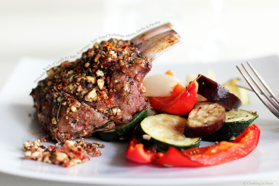 Succulent Rack of Lamb with Feta, Rosemary, Sun-Dried Tomatoes, Olives, Garlic and Parsley