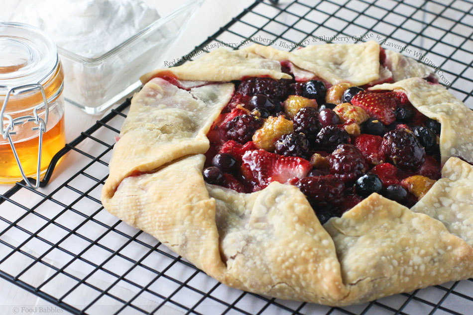 Red and Golden Raspberry, Strawberry, Blackberry and Blueberry Galette with Lavender Whipped Cream
