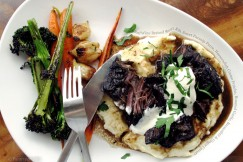 Red Wine Braised Short Rib, Sweet Parsnip Puree, Horseradish Creme Fraiche, Roasted Garlic, Broccolini and Ginger Carrots