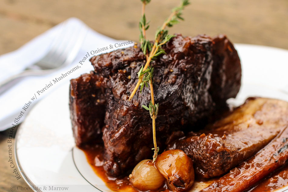 Rich Cabernet Braised Short Ribs with Porcini Mushrooms, Pearl Onions and Carrots
