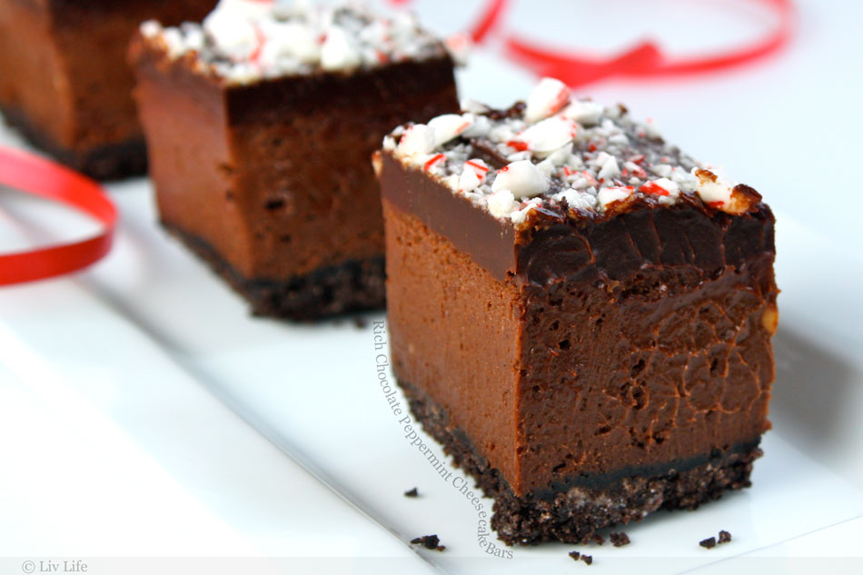 Rich Chocolate Peppermint Cheesecake Bars