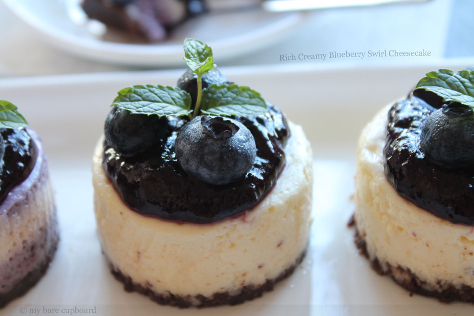 Rich Creamy Blueberry Swirl Cheesecake