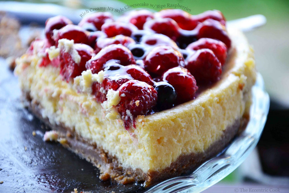 Rich Creamy NY Style Cheesecake with Ripe Raspberries