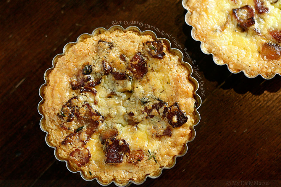 Rich Custardy Caramelized Onion, Bacon and Thyme Quiche