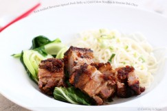 Rich Grilled Bavarian Spiced Pork Belly with Cold Udon Noodles and Sesame Bok Choy