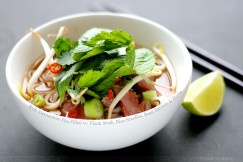 Rich Vietnamese Pho Filled with Flank Steak, Rice Noodles, Bean Sprouts and Herbs