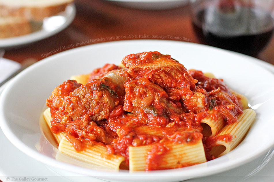 Rigatoni with Hearty Braised Garlicky Pork Spare Rib and Italian Sausage Tomato Sugo