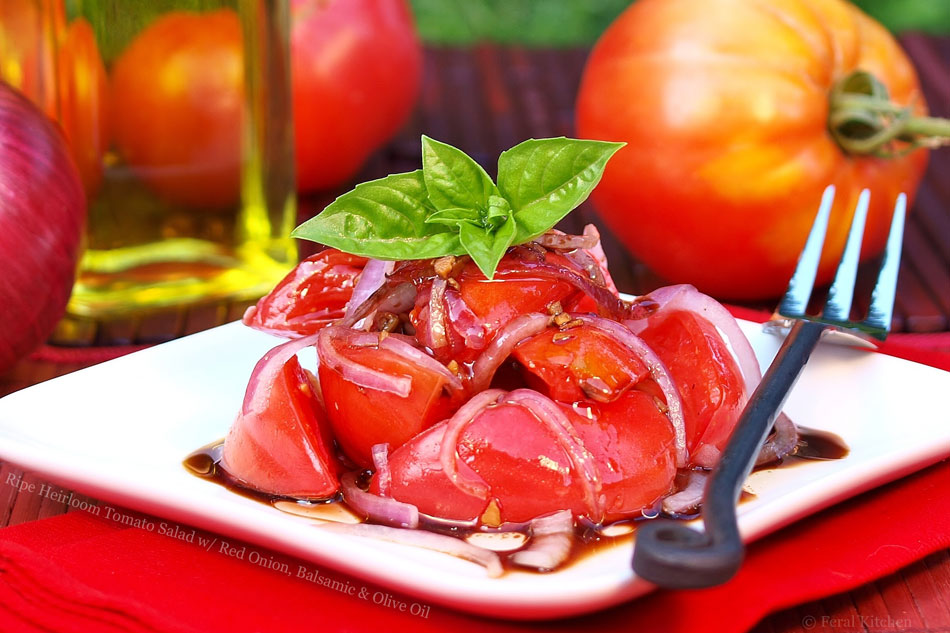 Ripe Heirloom Tomato Salad with Red Onion, Balsamic and Olive Oil