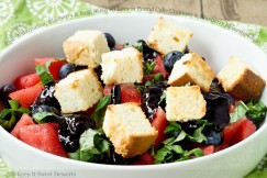 Ripe Watermelon, Blueberry and Basil Salad with Lemon Pound Cake Croutons and Blueberry Balsamic Glaze