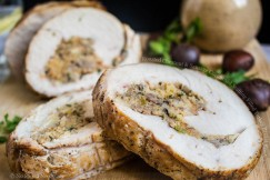Roasted Chestnut and Sausage Cornbread Stuffing Filled Turkey Breast Roulade