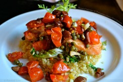 Roasted Salmon with Puttanesca Sauce Over Quinoa