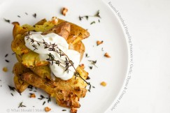 Roasted Smashed Fingerling Potatoes with Garlic, Thyme and Creme Fraiche