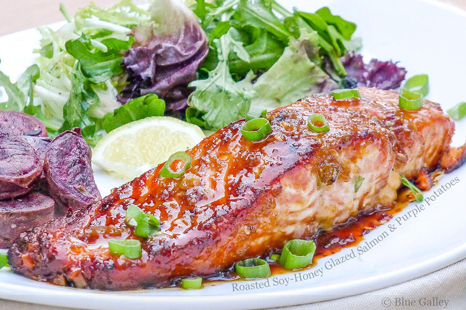 Roasted Soy-Honey Glazed Salmon and Purple Potatoes