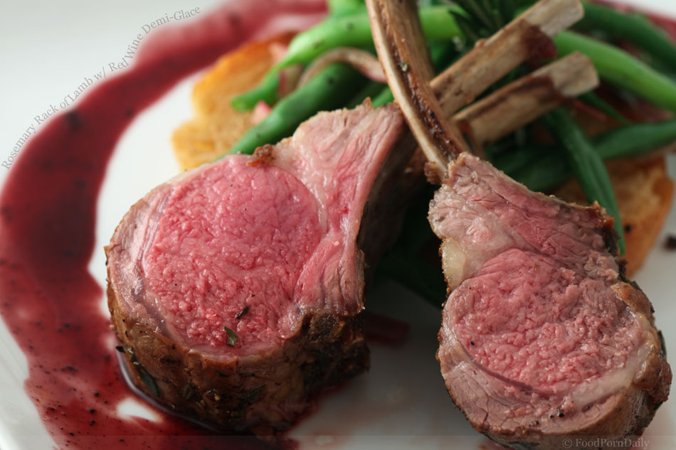 Rosemary Rack of Lamb with Red Wine Demi-Glace