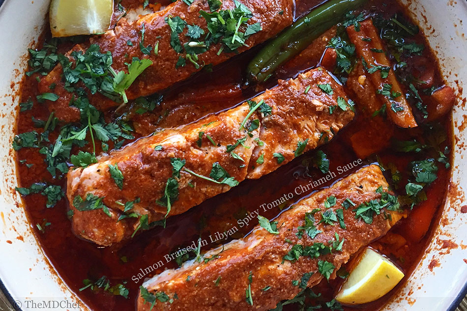 Salmon Braised in Libyan Spicy Tomato Chriameh Sauce