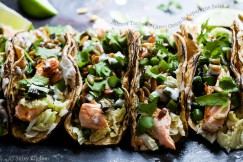 Salmon Tacos with Green Onion and Asparagus Salsa