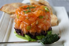 Salmon Tartare with Avocado, Kalamata Olives and Tarragon Oil