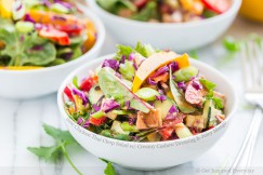Saté Chicken Thai Salad with Creamy Cashew Dressing and Juicy Mango