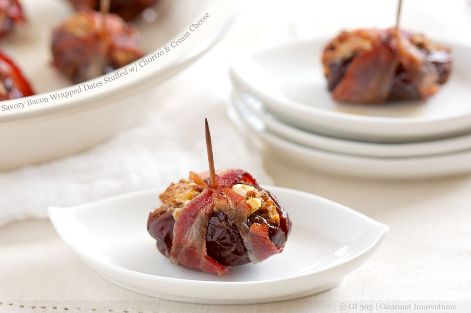 Savory Bacon Wrapped Dates Stuffed with Chorizo and Cream Cheese
