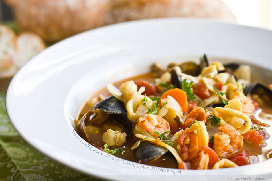 Savory Bouillabaisse with Shrimp, Mussels, Oysters, Scallops and Squid