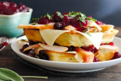 Savory Buttermilk and Herb Waffles with Turkey, Havarti and Cranberry Sauce