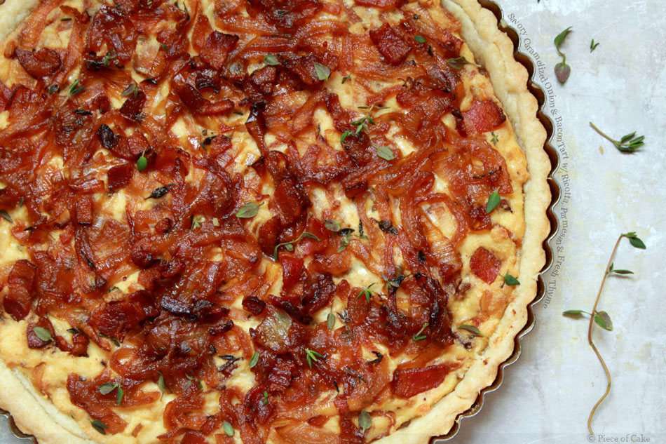Savory Caramelized Onion and Bacon Tart with Ricotta, Parmesan and Fresh Thyme