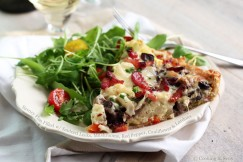 Savory Flan Filled with Sauteed Leeks, Mushrooms, Red Pepper, Cauliflower and Lardons