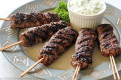 Savory Grilled Kofta Kebabs with Tzatziki Sauce