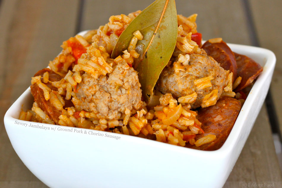 Savory Jambalaya with Ground Pork and Chorizo Sausage