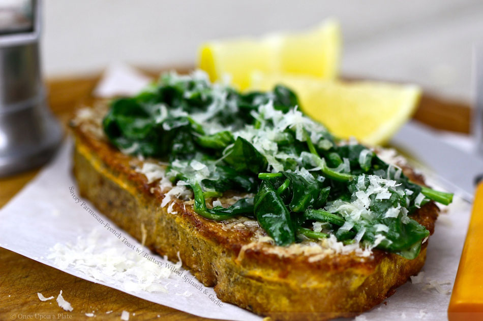 Savory Parmesan-French Toast with Buttery Wilted Spinach and Garlic ...