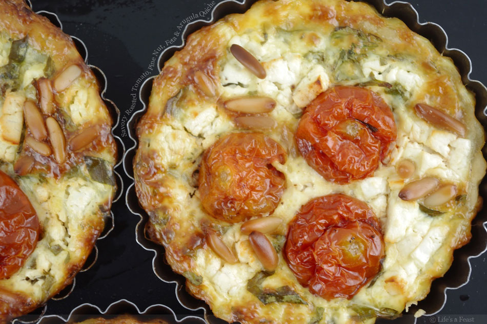 Savory Roasted Tomato, Pine Nut, Feta and Arugula Quiche