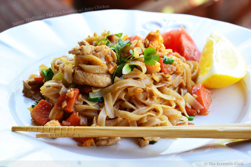 Savory Traditional Pad Thai Noodles with Juicy Chicken