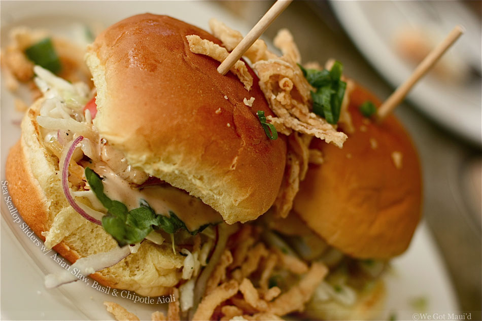 Sea Scallop Sliders with Asian Slaw, Basil & Chipotle Aioli