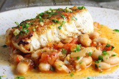 Seared Halibut with Cherry Tomato and Cannellini Bean Sauté Topped with Gremolata