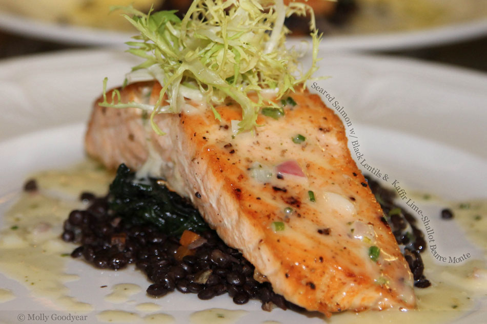 Seared Salmon with Black Lentils and  Kaffir Lime-Shallot Beurre Monte