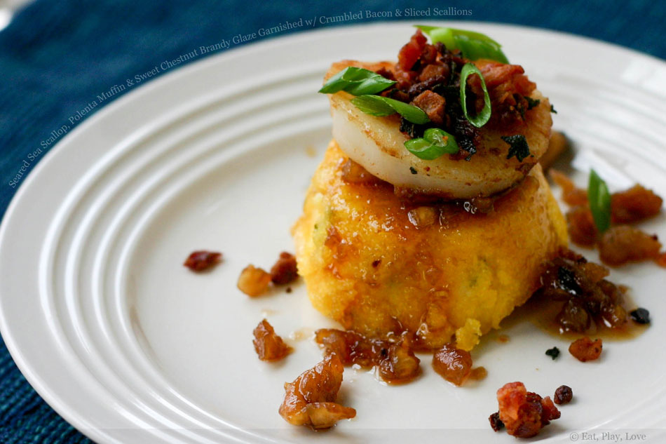 Seared Sea Scallop, Polenta Muffin and Sweet Chestnut Brandy Glaze Garnished with Crumbled Bacon & Sliced Scallions
