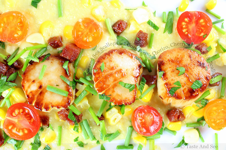 Seared Sea Scallops with Corn Puree, Chorizo, Cherry Tomatoes and Scallions