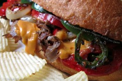 Seasoned Cheesesteak with Grilled Peppers, Onions, Jalapeno and Chili con Queso