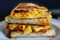 Sharp Cheddar Mac �n� Cheese Quesadilla with Mexican Chorizo and Fresh Jalapenos