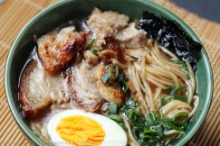 Shoyu Ramen -Pork and Ramen in a Soy Sauce Broth with Scallions, Nori and Egg
