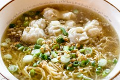 Shrimp and Pork Filled Wonton Noodle Soup in a Chicken and& Pork Broth with Chopped Scallions